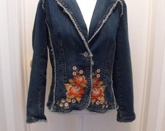 Japanese shippo tsunagi sashiko denim jacket stitched by Rivulette on Etsy