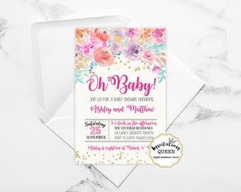 Girl Baby Shower Invitation Pink Baby Shower Invites Wood Floral Baby Shower Invitation Printable Baby girl Babyshower invitation printed