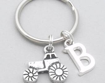 Tractor keyring | tractor keychain | personalised tractor gift | farmer keychain | farmer keyring | monogram initial