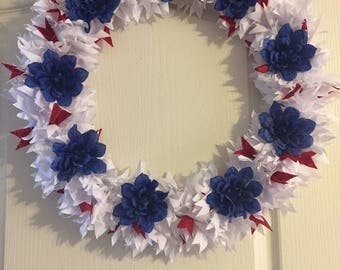 4th of July Wreath, Patriotic Wreath, Red, White & Blue Wreath, Wreath, Independence Day Wreath, 4th of July Decor