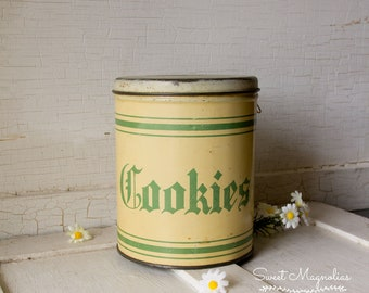 Vintage Cookies Metal Can Canister ~ Tin Litho ~ Green and Cream Striped - Container ~ 1940's