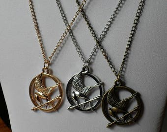 Hunger Games Jewelry,Hunger Games Necklace Pendant,Gold Bronze Silver Hunger Games Necklace Jewelry