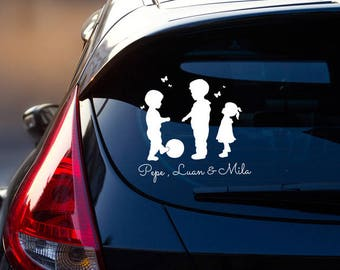 Car Decal Sticker Rear Window Children Name M2198