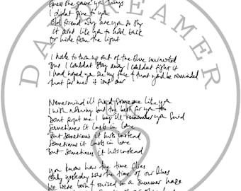 Someone Like You Handwritten Lyrics by Adele PRINT DOWNLOAD