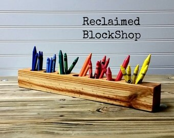Adorable Wood Crayon Organizer, Barnwood Crayon Caddy, Wood Crayon Holder, Kids Crayon Organizer - Holds up to 70 crayons!