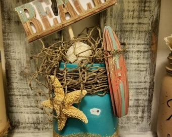 Beach Shabby Chic Distressed Mason Jar Decor Summer Sand Surfboard Net Starfish Shell Blue Turquoise