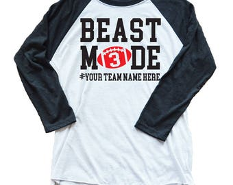 Personalized Football Shirt - Beast Mode Unisex 3/4 Length Sleeve Soft Deluxe Custom Football Shirt - Beast Mode Football Shirt - Game Day