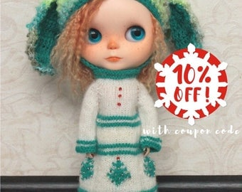 Blythe outfit: knitted dress long sleeve and rabbit crochet hat