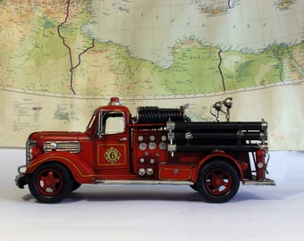 Father's Day Gift, Vintage Fire Truck, Fire Engine, Retro Toy Fire Fighter Decor, Man's Cave, American Fire Truck, Model Car: Reproduction