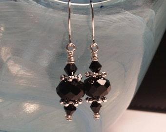 Black Glass Crystal Bead Drop Silver Wire Handmade Dangle Earrings