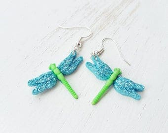 Dragonfly earrings. Dragonfly dangle earrings. Turquoise Dragon fly earrings. Dragonfly insect jewellery jewelry
