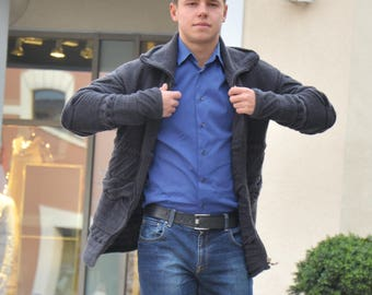 knitted a men's jacket, very delicate and pleasant to the body, very comfortable
