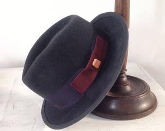 Fedora man felt hat gift for husband. Elegant men  teardrop grey hat. Millinery fur felt . Bogart fashion style. Grey hat.medium brim