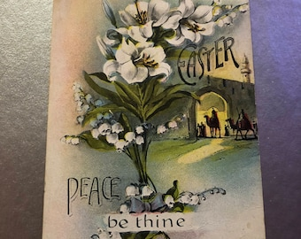 Antique 1900s Easter Bouquet Postcard, White Lily Card, Easter Holiday Card, Easter Postcard, Floral Postcard, Religious Postcard, Bluebells