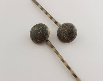 HP-011 Polymer clay bobby pins set of 2 - Kerry Abstract