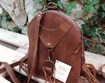 Pretty Handmade Leather Backpack/ small vintage city rucksack Women