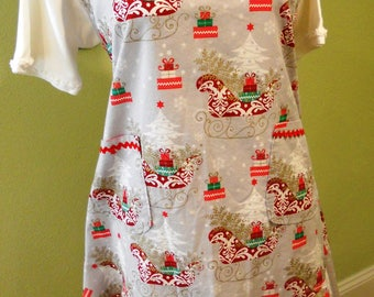Full Apron - Christmas Sleigh/Holiday Print