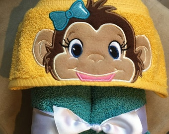 MONKEY Hooded Towel (Girl or Boy)