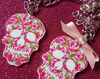 Pink Roses Sugar Skull Necklace with or without Bow.