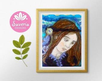 Fine art print, nursery wall decor, renaissance art, italy wall art, needle felt picture, young girl art, lady portrait, italian artwork