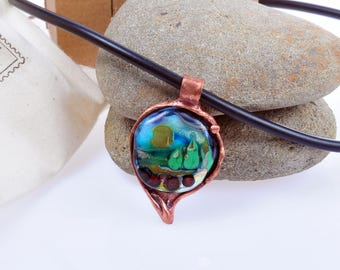 Copper and glass neklace with landscape