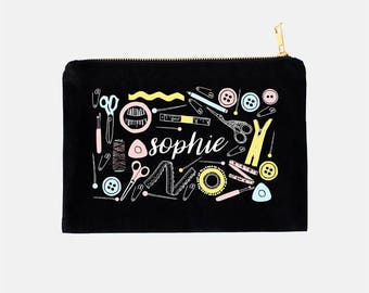 Sewing Makeup Bag Personalized, Gifts for Sewers, Gifts for Seamstress, Sewing Gifts, Sewer Makeup Bag, Black Makeup Bag, 9.5 x 7