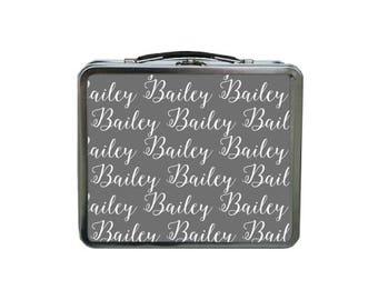 Custom Name Lunch Box, Grey Lunch Box, METAL Lunch Box, Monogram Lunch Box, Lunch Box for Kids, TIN Lunch Bag Personalized, Retro Lunch Box