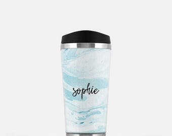 Personalized Travel Cup, Marble Travel Mug, Blue Travel Tumbler, Monogram Coffee Mug, Stainless Steel Mug, To Go Coffee Cup, 16 oz