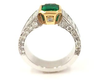 Emerald Ring, Emerald, Rings, Jewelry Rings, Emerald Engagement Ring, Emerald Jewelry, Bouquet Diamonds,Rings, 14k Gold, wedding rings women