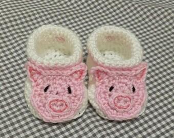 Handmade Baby Gift |  Crochet Baby Booties | Pink Pig Booties | Handmade | Baby Shower Gift | New Baby | Baby Boy | Baby Girl | Farm Theme
