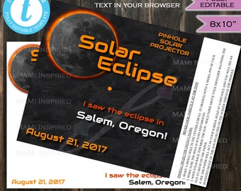 Pinhole Projector Kit Solar Eclipse - Eclipse Viewer- Total Solar Eclipse 2017 Sun Moon Eclipse Party Custom Printable INSTANT EDITABLE 8x10