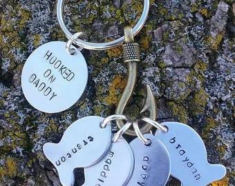 """Personalized """"Hooked On"""" Fish Metal Stamped Keychain"""