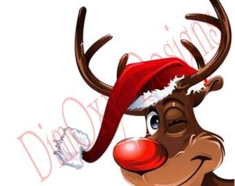 Reindeer Head. Christmas and Holiday window Static Cling decor.  OSD-SCFC-CRH1