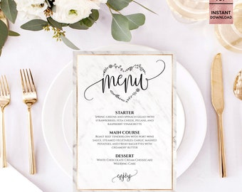 "Gray Marble Gold Foil Wedding Menu Template, Printable Fashion Script Font Wedding Menu Template, 5""x7"", Editable PDF, Digital Download"