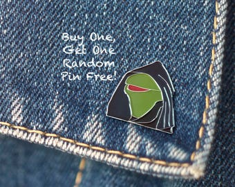 BUY 1, GET 1 Random Pin Free! Evil Kermit Meme Enamel Pin Kermit Lapel Pin Internet Meme Pin Badge Soft Enamel Pin Star Wars Pin Funny Pin