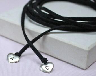 Personalised Heart Charm Wrap Choker