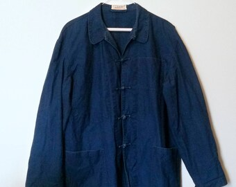 Vintage Denim Jacket 70s China Blue Toggle Button - Size XL, L'Anti-Cher Extra Large, Paris France French, 1970s Brut Chinese, Jean Jeans