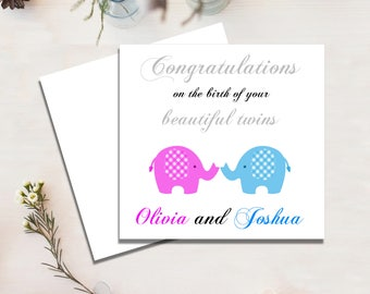 Baby Twins Card, New Baby, Twins, Boy and Girl Twins, Congratulations Birth Greeting Card