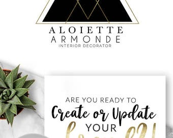 198 - Aloiette Armond ,  LOGO Premade Logo Design, Branding, Blog Header, Title, Business, Boutique, Custom, Modern, Fashion, Gold, Black