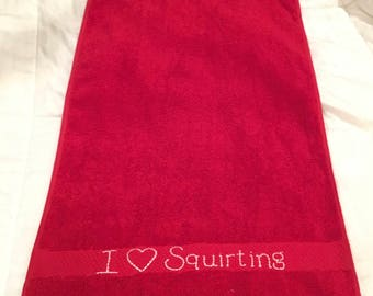 I HEART Squirting Bath Towel Size Sex Towel Clean Up Eco Friendly Red All Cotton Towel Cum Rag Great For Watersports Squirters Wet Sex Play
