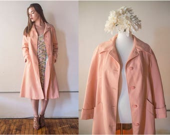 Vintage 1970s Pink NPC Fashions Trench Coat - Size M/L