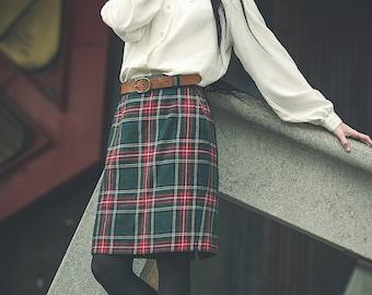 Tartan vintage skirt 1980s.
