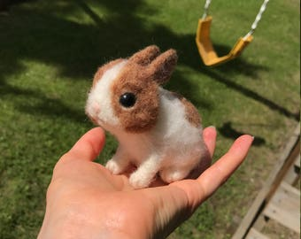 Needle Felted Baby Brown And White Bunny