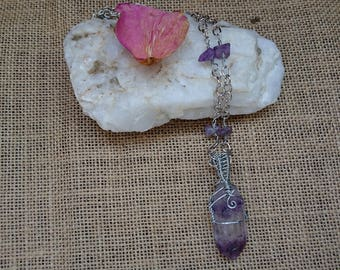 Amethyst and Silver Wire Wrapped Necklace
