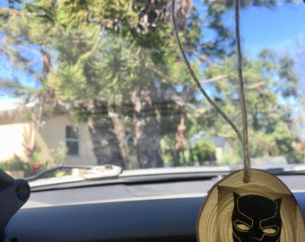 Rear view mirror Black Panther Wood Wooden Car hanger Ornament Dangler, Carving  Car Accessories, Gold Tone Tree of life wish charm Car