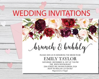 Brunch and Bubbly, Floral Bridal Shower Invitation, Bridal Brunch, Instant Download, Flower Bridal Card, Boho Bridal Brunch, Printable  BB05