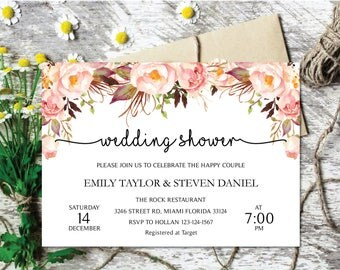 Wedding Shower Invitation, Fall Floral Bridal Shower Card, Couples Shower Invite, Editable Card Instant Download, Wedding Shower PDF #07