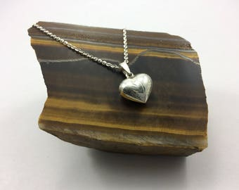 Sterling Silver Puffy heart Necklace, Silver etched heart, Simple heart necklace, dainty silver necklace, puffy heart, etched heart