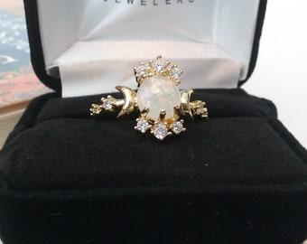 Lunar Eclipse Opal Zirconia Ring