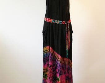 long dress tie dye; batik; fushia; naked back